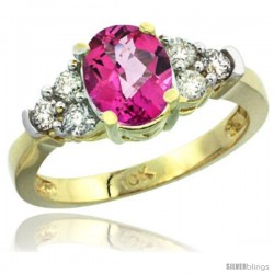 10k Yellow Gold Ladies Natural Pink Topaz Ring oval 9x7 Stone