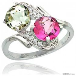 14k White Gold ( 7 mm ) Double Stone Engagement Green Amethyst & Pink Topaz Ring w/ 0.05 Carat Brilliant Cut Diamonds & 2.34