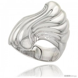 Sterling Silver Fan Ring Flawless finish 1 in wide