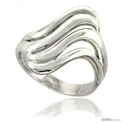 Sterling Silver Cut-out Wave Ring Flawless finish 1 in wide