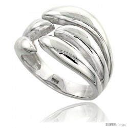 Sterling Silver Flame Ring Flawless finish 1/2 in wide