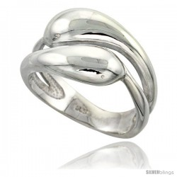 Sterling Silver Snakes Ring Flawless finish 1/2 in wide