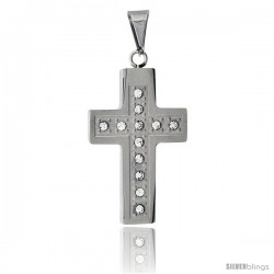 Stainless Steel Christian Cross Pendant, w/ CZ Stones, 1 1/2 in tall with 30 in chain