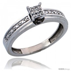 10k White Gold Diamond Engagement Ring, w/ 0.13 Carat Brilliant Cut Diamonds, 5/32 in. (4mm) wide