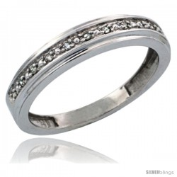 10k White Gold Ladies' Diamond Band, w/ 0.08 Carat Brilliant Cut Diamonds, 5/32 in. (4mm) wide