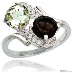 14k White Gold ( 7 mm ) Double Stone Engagement Green Amethyst & Smoky Topaz Ring w/ 0.05 Carat Brilliant Cut Diamonds & 2.34