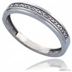 10k White Gold Men's Diamond Band, w/ 0.08 Carat Brilliant Cut Diamonds, 5/32 in. (4mm) wide