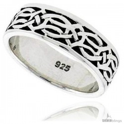 Sterling Silver Celtic Knot Wedding Band Thumb Ring, 5/16 in wide -Style Tr205