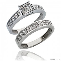 10k White Gold 2-Piece Diamond Engagement Ring Set, w/ 0.24 Carat Brilliant Cut Diamonds, 5/32 in. (4mm) wide