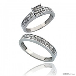 10k White Gold 2-Piece Diamond Ring Set ( Engagement Ring & Man's Wedding Band ), w/ 0.24 Carat Brilliant Cut Diamonds, 5/32