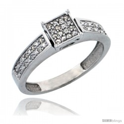 10k White Gold Diamond Engagement Ring, w/ 0.10 Carat Brilliant Cut Diamonds, 5/32 in. (4mm) wide