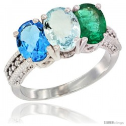 14K White Gold Natural Swiss Blue Topaz, Aquamarine & Emerald Ring 3-Stone 7x5 mm Oval Diamond Accent