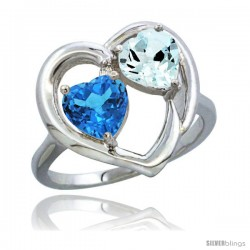 14k White Gold 2-Stone Heart Ring 6mm Natural Swiss Blue & Aquamarine Diamond Accent