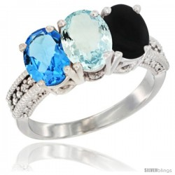 14K White Gold Natural Swiss Blue Topaz, Aquamarine & Black Onyx Ring 3-Stone 7x5 mm Oval Diamond Accent