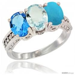 14K White Gold Natural Swiss Blue Topaz, Aquamarine & Turquoise Ring 3-Stone 7x5 mm Oval Diamond Accent