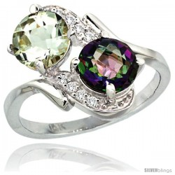 14k White Gold ( 7 mm ) Double Stone Engagement Green Amethyst & Mystic Topaz Ring w/ 0.05 Carat Brilliant Cut Diamonds & 2.34