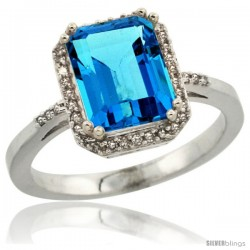 14k White Gold Diamond Swiss Blue Topaz Ring 2.53 ct Emerald Shape 9x7 mm, 1/2 in wide