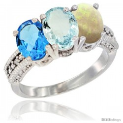 14K White Gold Natural Swiss Blue Topaz, Aquamarine & Opal Ring 3-Stone 7x5 mm Oval Diamond Accent