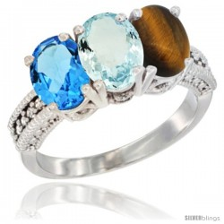 14K White Gold Natural Swiss Blue Topaz, Aquamarine & Tiger Eye Ring 3-Stone 7x5 mm Oval Diamond Accent