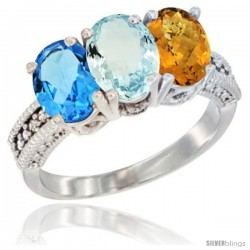 14K White Gold Natural Swiss Blue Topaz, Aquamarine & Whisky Quartz Ring 3-Stone 7x5 mm Oval Diamond Accent