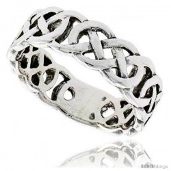 Sterling Silver Celtic Knot Flat Wedding Band / Thumb Ring, 1/4 in wide -Style Tr210