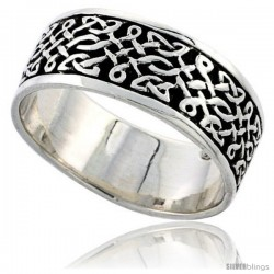 Sterling Silver Celtic Knot Flat Wedding Band / Thumb Ring, 5/16 in wide