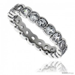 Sterling Silver Cubic Zirconia Eternity Band Ring Brilliant Cut 2.5mm Rhodium finish -Style Tr3789