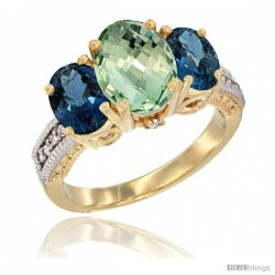 14K Yellow Gold Ladies 3-Stone Oval Natural Green Amethyst Ring with London Blue Topaz Sides Diamond Accent