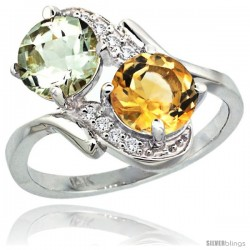 14k White Gold ( 7 mm ) Double Stone Engagement Green Amethyst & Citrine Ring w/ 0.05 Carat Brilliant Cut Diamonds & 2.34