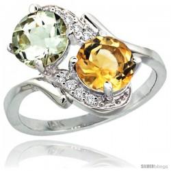 14k White Gold ( 7 mm ) Double Stone Engagement Green Amethyst & Citrine Ring w/ 0.05 Carat Brilliant Cut Diamonds & 2.34