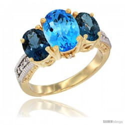 14K Yellow Gold Ladies 3-Stone Oval Natural Swiss Blue Topaz Ring with London Blue Topaz Sides Diamond Accent