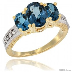 14k Yellow Gold Ladies Oval Natural London Blue Topaz 3-Stone Ring Diamond Accent