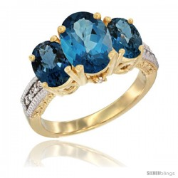 14K Yellow Gold Ladies 3-Stone Oval Natural London Blue Topaz Ring Diamond Accent