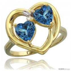 14k Yellow Gold 2-Stone Heart Ring 6mm Natural London Blue Topaz & London Blue Topaz Diamond Accent