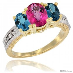 14k Yellow Gold Ladies Oval Natural Pink Topaz 3-Stone Ring with London Blue Topaz Sides Diamond Accent