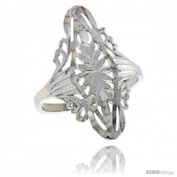 Sterling Silver Diamond-shaped Filigree Ring, 1 in