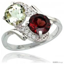 14k White Gold ( 7 mm ) Double Stone Engagement Green Amethyst & Garnet Ring w/ 0.05 Carat Brilliant Cut Diamonds & 2.34 Carats