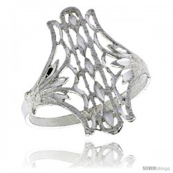 Sterling Silver Fan-shaped Filigree Ring, 3/4 in