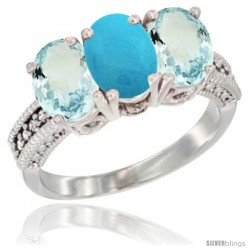 14K White Gold Natural Turquoise & Aquamarine Sides Ring 3-Stone Oval 7x5 mm Diamond Accent