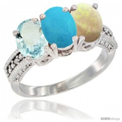 14K White Gold Natural Aquamarine, Turquoise & Opal Ring 3-Stone Oval 7x5 mm Diamond Accent