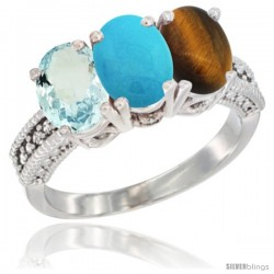 14K White Gold Natural Aquamarine, Turquoise & Tiger Eye Ring 3-Stone Oval 7x5 mm Diamond Accent