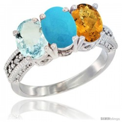 14K White Gold Natural Aquamarine, Turquoise & Whisky Quartz Ring 3-Stone Oval 7x5 mm Diamond Accent