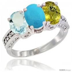 14K White Gold Natural Aquamarine, Turquoise & Lemon Quartz Ring 3-Stone Oval 7x5 mm Diamond Accent