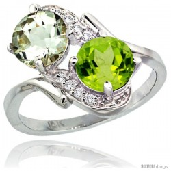 14k White Gold ( 7 mm ) Double Stone Engagement Green Amethyst & Peridot Ring w/ 0.05 Carat Brilliant Cut Diamonds & 2.34