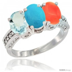 14K White Gold Natural Aquamarine, Turquoise & Coral Ring 3-Stone Oval 7x5 mm Diamond Accent