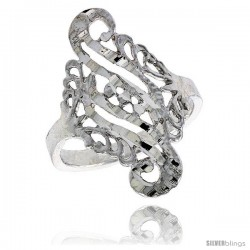 Sterling Silver Double Swirl Filigree Ring, 3/4 in