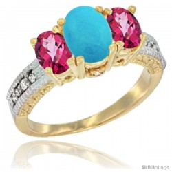 10K Yellow Gold Ladies Oval Natural Turquoise 3-Stone Ring with Pink Topaz Sides Diamond Accent