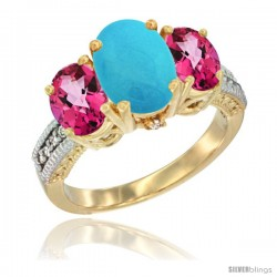 10K Yellow Gold Ladies 3-Stone Oval Natural Turquoise Ring with Pink Topaz Sides Diamond Accent