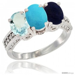 14K White Gold Natural Aquamarine, Turquoise & Lapis Ring 3-Stone Oval 7x5 mm Diamond Accent