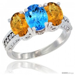 10K White Gold Natural Swiss Blue Topaz & Whisky Quartz Sides Ring 3-Stone Oval 7x5 mm Diamond Accent